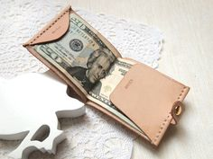 Personalized Money Clip Wallet - Leather - Hand Stitched