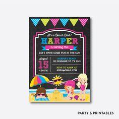 Beach Party Girl Chalkboard Kids Birthday Invitation / Personalized (CKB.284)