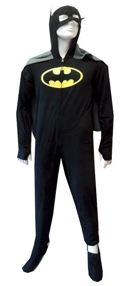 Batman / BatGirl Hooded Fleece Onesie Footie Pajama with Cape Who says capes are for kids? These pajamas for adults feature a bold yellow and black Bat shield and detachable gray button-on cape. Cuffs at wrist have an intentional slit for your thumbs and feet completely zip on and off! Hood pulls down to complete the disguise. This soft fleece onesie footie pajama has a half-zip front and side pockets. Unisex sizing.