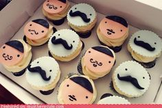 mustache cupcakes! (i wish there were girl cupcakes as well maybe some wearing pearls!)