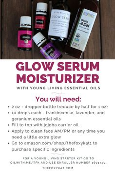 Essential Oils Recipe - Glow Serum Moisturizer for Your Face - The Foxy Kat - Create your essential oil combo and ad Essential Oils For Face, Young Living Essential Oils, Essential Oil Blends, Josie Maran, Vitamin A, Bali Body, Doterra, Diy Rose, Young Living Oils