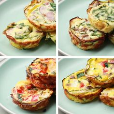 Mini Zucchini Crust Quiche 4 Ways Recipes Ww Recipes, Brunch Recipes, Low Carb Recipes, Cooking Recipes, Healthy Recipes, Brunch Food, Quiches, Breakfast Dishes, Breakfast Recipes