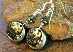 Metalic Moon Sterling Silver Earrings  Handcrafted by JensFancy