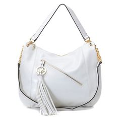 2ddefe995d2b Michael Kors Charm Tassel Convertible Shoulder Bag Dove White Products  Description   Dove white leather with golden hardware.   Top handle with  rings.