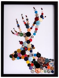 Heal's | Hello Geronimo Stag Buttons Framed Art - Retro and Vintage Art - Art - Accessories