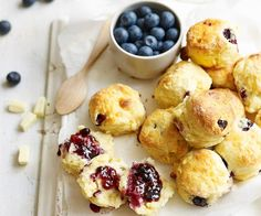 Add sweet bursts of blueberry and chunks of white chocolate to the classic scone for an ideal afternoon treat.
