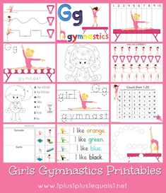 Free Girls Gymnastics Printables {coloring, dot fun, tracing, and more!} Tot, PreK and K level