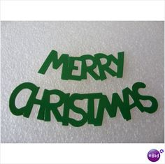 Green Merry Christmas Text Die Cut Toppers Pack of 10 Sets