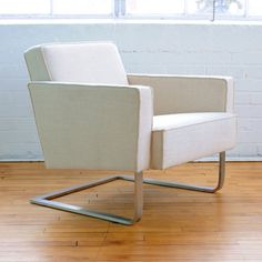 A modern club chair with a cantilevered stainless steel base, the High Park Chair is a comfortable accent with clean, classic lines. The upholstery features French seams and the interior frame uses only FSC-Certified wood. Furniture Making, Home Furniture, Furniture Design, Modern Furniture Toronto, Simple Sofa, Home Furnishing Stores, Modern Chairs, Accent Chairs, Interior Design