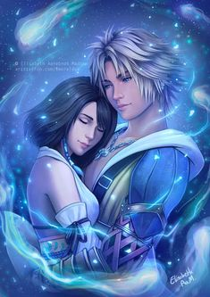 This one is very special to me ~ I've been trying to make a Final Fantasy X painting in like forever and I finally finished one! FFX is my favorite game. Final Fantasy X - Tidus and Yuna Yuna Final Fantasy, Final Fantasy Vii Remake, Fantasy Series, Fantasy Art, Manga Anime, Anime Guys, Tidus And Yuna, League Of Legends, Love Art