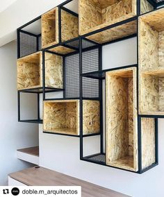 Combining OSB with black metal has created a stylish industrial look, we love it! Industrial Bedroom Furniture, Built In Furniture, Steel Furniture, Home Furniture, Furniture Design, Reclaimed Furniture, Industrial Lamps, Refinished Furniture, Industrial Interiors