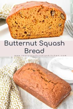 Delicious buttenut squash bread made with roasted butternut squash puree, flour, sugar, eggs, and spices and pecans. #fallbaking #butternutsquashbread #baking #quickbread