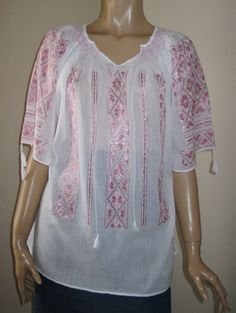 Hand embroidered Romanian peasant blouse - dark pink silk embroidery M /L size Beautiful Outfits, Beautiful Clothes, Palestinian Embroidery, Peasant Blouse, Pink Silk, Quilted Jacket, Sewing Patterns, Tunic Tops, Fabric