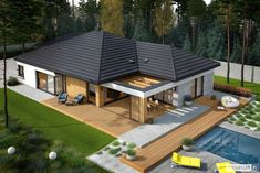 Karen - nowoczesny dom z pięknym tarasem Автор – Pracownia Projektowa ARCHIPELAG Modern House Floor Plans, Modern Bungalow House, My House Plans, Bungalow House Plans, Modern Bungalow Exterior, Modern Small House Design, House Outside Design, House Construction Plan, House Design Pictures