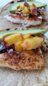Grilled Fish Tacos with Peaches and Slaw