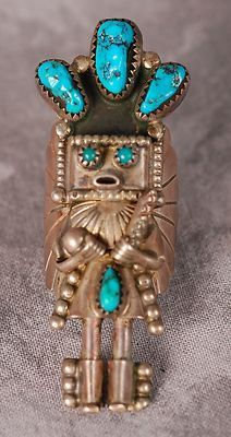 Large Vintage Navajo Turquoise Silver Doris Smallcanyon Kachina Ring Size 7 | eBay