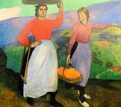 Aurelio Arteta - Camino del Mercado (ciclo La romería), 1913 Bilbao, Genere, Espadrilles, Painting, Art Production, Boater, Contemporary Paintings, Watercolors, Fine Art