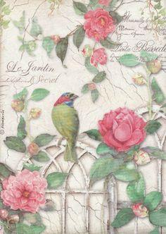 Rice Paper for Decoupage Decopatch Scrapbook Craft Sheet Vintage Gate Bird Roses