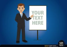 Elegant businessman showing a message Free Vector