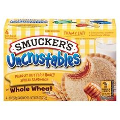 Sweet and smooth honey spread meets rich and nutty Smucker's® Peanut Butter in this tasty twist on our crustless whole-wheat sandwich. Call it a PB&H if you like — we call it delicious. Smuckers Uncrustables, Jam Sandwiches, Bread Packaging, Ice Cream Candy, School Snacks, School Lunch, Pop Tarts, Snack Recipes, Snacks