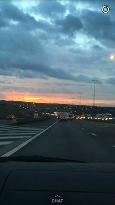 Cloudy road sunset