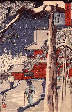 Japanese postcard- Kobayashi Kiyochika (1847-1915). Shiba Zojoji in Snow, Musashi 100 Views. Woodblock printed postcard. 91 mm x 141 mm.