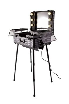 masami shouko black diamond makeup case with dimmer lights and wheels
