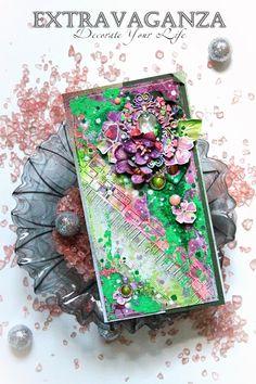 Фабрика декора: Мастер-класс от Extravaganza. Красочная открытка из обрезков.