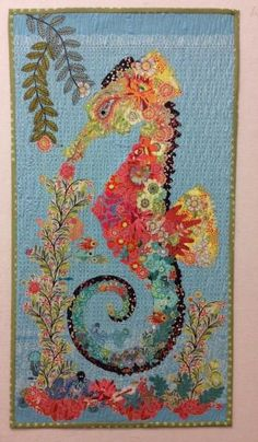 Ebba the Seahorse collage quilt kit by Laura Heine:
