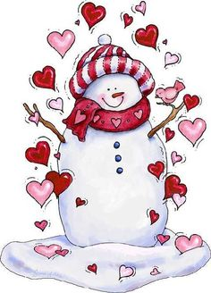 snowman with hearts. Perfect for a Valentine's day print :) Snowman Clipart, Christmas Clipart, Christmas Printables, Christmas Pictures, Christmas Snowman, All Things Christmas, Christmas Graphics, Christmas Stocking, Frosty The Snowmen