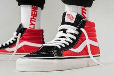 Vans HI coming soon Cool Vans Shoes, Vans Shoes Fashion, Mens Vans Shoes, Vans Sneakers, Skate Shoes, Custom High Top Vans, Custom Vans, Custom Shoes, Red And Black Vans