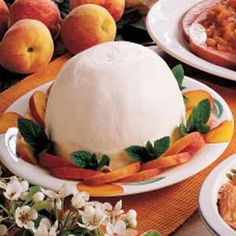 Frozen Peach Dessert - Pureed peaches and whipping cream.....YUM!