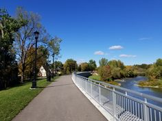The Thames River to the right and Blackfriars to the left.  London Ontario Canada