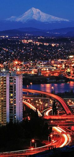 Hood, the Willamette river, and the freeway interchange viewed from the west hills of Portland, Oregon. Move to Oregon. Places Around The World, Oh The Places You'll Go, Great Places, Places To Travel, Places To Visit, Around The Worlds, Beautiful World, Beautiful Places, Oregon Washington