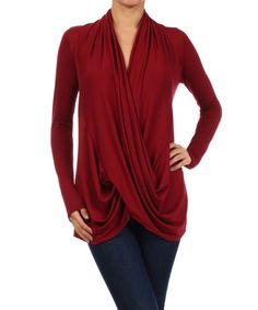 Take a look at the Burgundy Surplice Drape Top on #zulily today!