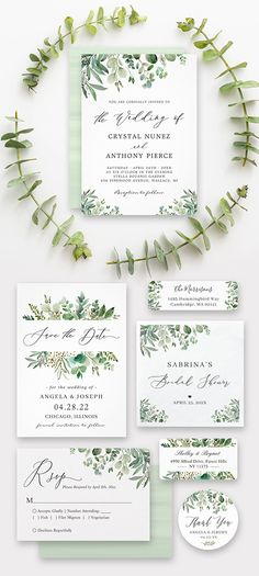 "Set the right tone for your greenery wedding with this beautiful ""Greenery Eucalyptus Leaves Invitation Suite"". It's giving a romantic, modern feel. Check out and get more inspirations! Spring Wedding Invitations, Wedding Invitation Design, Invitation Suite, Invites, Wedding Binder, Wedding Album, Wedding Programs, Eucalyptus Wedding, Eucalyptus Leaves"
