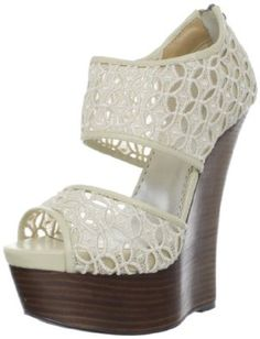 lace & wood wedges --> in LOVE Hot Pink Heels, Blue High Heels, Silver High Heels, Yellow Heels, Crazy Shoes, Me Too Shoes, Women's Shoes, Gorgeous Heels, Hello Gorgeous