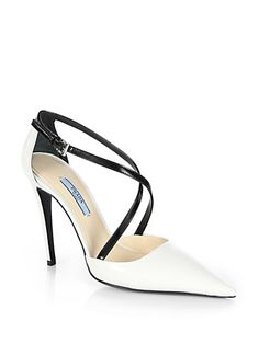 #Prada Leather Crisscross Pumps #Trend Black & White