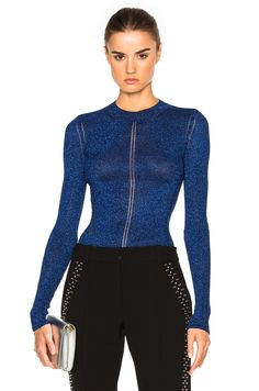 Image 1 of Christopher Kane Lurex Knit Top in Blue