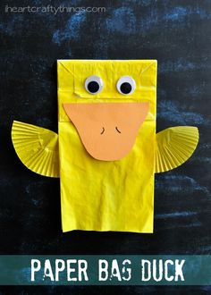 Cute Paper Bag Duck Kids Craft that is a fun spring craft for kids. There are some book recommendations in the post. from iheartcraftythings.com