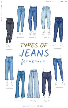 Jean Types, Types Of Jeans, Fashion Terminology, Fashion Terms, Girls Fashion Clothes, Teen Fashion Outfits, Cute Casual Outfits, Stylish Outfits, Jeans Drawing
