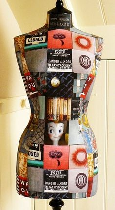 What a fun way to dress up an old dress form like the used ones we sell at Mannequin Madness