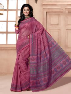Dark Pink Cotton Stylish Printed Saree