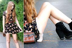 Brandy Melville Floral Dress, Vintage Brown Belt, Vintage Brown Shoulder Bag, Calvin Klein Lace Trim Slip, Urban Outfitters Lace Up Wedges