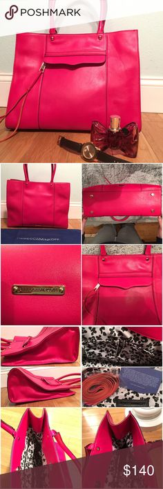 "Rebecca Minkoff Medium M.A.B. Tote Hot pink leather tote with front zip pocket covered by flap. Magnetic snap for main closure. Interior is fabric with two slip pockets and one zipper pocket. Gold hardware. 7"" handle drop. Worn with some wear. Black spots on front corner, side and tassel. Feet are scratched. Small holes on handles where attached on inside. All shown the best I could in last set of photos. New replacement tassel included. Hard to find color. Rebecca Minkoff Bags Totes"