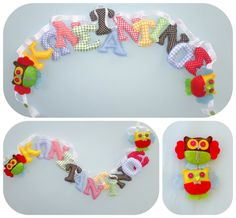 Bright colors letters boy's room name banner by LittleFairyCottage Fabric Letters, Fabric Names, Nursery Banner, Alphabet Names, Felt Owls, Red Green Yellow, Name Banners, Felt Ornaments, Garlands