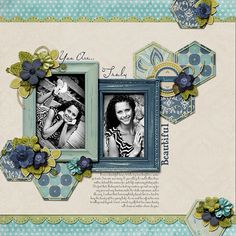 Scrapbook layout by emily using hexagons