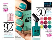 I Love This Color! Avon has it on Sale now or just $2.99 This Nail Color is called Turquoise Pop! Avon Speed Dry Nail Polish also comes in Fast Time Teal, Red Red, Red wine, ASAP Pink, Mambo Melon, Presto Plum, Suddenly Sunny, and Strawberry. Perfect Colors for Summer!!  Click the pic or go to www.youravon.com/ericarice to order!