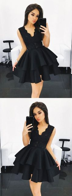 Cute black lace A line short prom dress, black homecoming dress – trendty