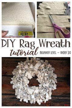 DIY Rag Wreath Tutorial - Beginner Level Project & Costs Under $10 - Gathered In The Kitchen Wreath Crafts, Diy Wreath, Rag Wreaths, Wreath Ideas, Burlap Wreaths, Wreath Making, Door Wreaths, Tulle Wreath, Floral Wreaths